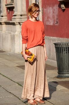 via rue blog // The Pantone color of the year (tangerine tango) sure looks good atop a beige maxi skirt!
