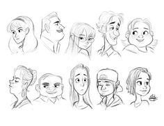 Headshots Warm Up 1 by LuigiL on DeviantArt Drawing Cartoon Characters, Cartoon Art Styles, Cartoon Drawings, Drawing Sketches, 2d Character Animation, Character Drawing, Character Illustration, Drawings Pinterest, Realistic Cartoons