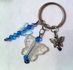 Cute frosted butterfly keychain with aqua blue by BeadingByJenn, $7.50