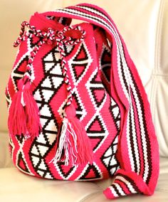 Pink Classic Wayuu Bag Mochila by SemillaTraders on Etsy, $90.00