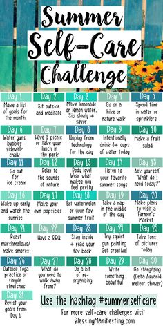 #selfcare #selfcarechallenge #summer Summer self-care activities.
