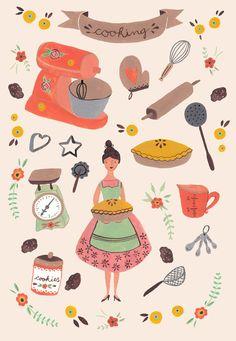 Adorable kitchen illustration with a vintage inspiration. - özlem - - Adorable kitchen illustration with a vintage inspiration. Art And Illustration, Illustration Inspiration, Food Illustrations, Buch Design, Doodles, Kitchen Art, Vintage Kitchen, Vintage Art, Vintage Colors