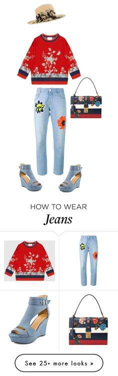 """Embroidered jeans"" by espaikantor on Polyvore featuring moda, Gucci, STELLA McCARTNEY, Etro, women's clothing, women, female, woman, misses e juniors"