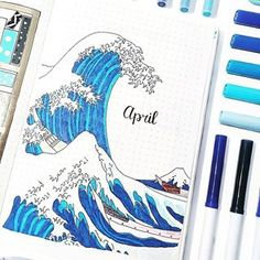 Amazing April cover by @bulletbycait featuring a homage to Hokusai's Great Wave 🌊☺️ I love this painting so much, it's my desktop wallpaper haha! - - Link to our store is in bio: @notebook_therapy - - #notebooktherapy #hokusai #bujo #bulletjournal #bulletjournaling #bulletjournallove #bujocommunity #plannergeek #plannersupplies #weeklyspread #stationery #stationeryaddict #studyblr #studygram
