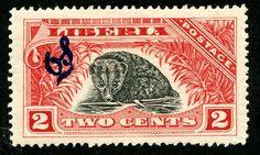 "1918 Official Scott O99 2c red & black, blue overprint ""Two-spot Palm Civet"""