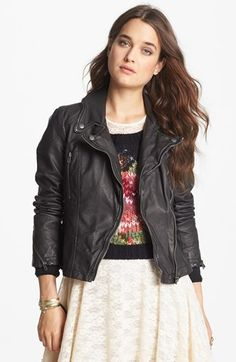Free People Distressed Faux Leather Moto Jacket, like the look, already have a great consigned and not faux leather jacket...!