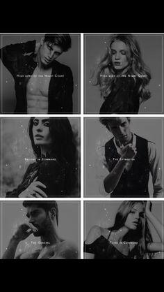 Rhys, Feyre, Amren, Azriel, Cassian and Mor
