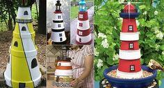 Kerti terrakotta cserépben világítótorony Hogyan készítsünk egy Terra Cotta agyagedények Lighthouse