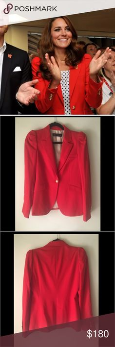 SALE 🎉Zara Woman's Red Blazer Aso Kate Middleton Like new. Detailed with gathered padded shoulders and beautiful gold buttons. As seen on the Duchess of Cambridge Kate Middleton. 🎉Sale today only!🎉 Zara Jackets & Coats Blazers