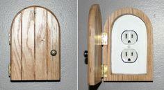 Fairy Door, Faerie Door, Gnome doors, Elf Doors, Hobbit Doors outlet/wall plug cover made from solid oak. Hobbit Door, Gnome Door, Diy Home Security, Wall Plug, Fairy Doors, Wall Outlets, Outlet Covers, Light Switch Covers, Door Design