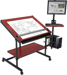 Professional Drafting Table 48x36 Black Frame Cherry