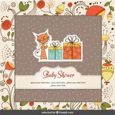 Baby shower card with cat and floral background Free Vector