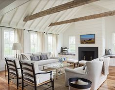 Oodles of seating in this open living room. Not only the usual suspects but window seat and benches in front of the fireplace that could be used as seating too. Modern Farmhouse Living Room Decor, French Country Living Room, Farmhouse Style, Farmhouse Furniture, Farmhouse Decor, Farmhouse Trim, Farmhouse Chairs, City Farmhouse, Country Bedrooms