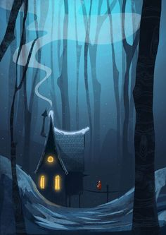 House in the woods, Illustrations by Mustafa Gündem, via Behance. Solitary...