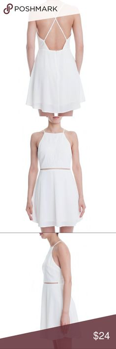 Lush white dress Low back with a cute cutout panel in the front. lush Dresses Backless