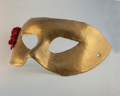 Golden Venetian Mask with red roses by CamillaLimon on Etsy