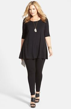 Eileen Fisher Jersey Tunic & Ankle Leggings (Plus Size) available at – Outfit Inspiration & Ideas for All Occasions Plus Size Legging Outfits, Plus Size Leggings, Plus Size Jeans, Plus Size Tops, Plus Size Outfits, Leggings Outfit Winter, How To Wear Leggings, Plus Size Womens Clothing, Size Clothing