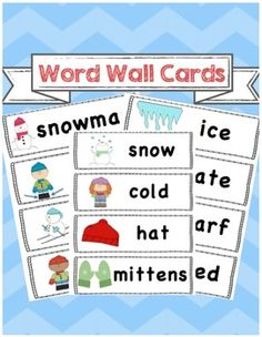 FREEBIE!! Winter themed word wall vocabulary cards