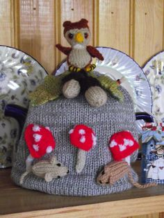 Hand Knitted  Tea Cozy / cosy woodland  owl  acorns  by bythemill