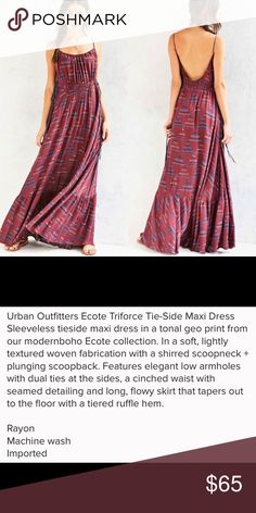 """Urban Outfitters """"Ecote"""" Triforce Maxi Dress See description above!! This is a wonderful dress with an incredible mermaid flowy bottom. I am 5'5"""" and it is right at my ankles. I wouldn't recommend for anyone shorter unless you want to wear tall wedges or have it altered!  Super soft material Urban Outfitters Dresses Maxi"""