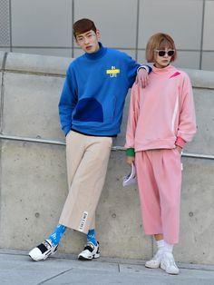 Street style: Bang Joo Ho and Seok Dan Bi at Seoul Fashion Week Fall 2015 shot by Baek Seung Won