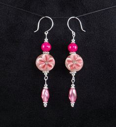 Handcrafted Pink Lampwork Glass Riverstone Bead Flower Dangle Drop Earrings