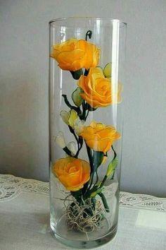 ~ Pin on Tutorials : Stockings Flower ~ DIY: Handmade Beautiful Nylon Flower - Art & Craft Ideas Nylon Flowers, Diy Flowers, Flower Vases, Flower Decorations, Fabric Flowers, Paper Flowers, Rosen Arrangements, Beautiful Flower Arrangements, Floral Arrangements