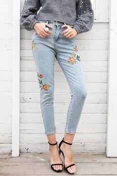 Hip Floral embroidery jeans, Casual high waist jeans, Light blue denim pencil pants, Please Read Size Description Funky Fashion, Denim Fashion, Fashion Pants, Cheap Fashion, Street Fashion, Women's Fashion, Casual Jeans, Jeans Style, Casual Outfits