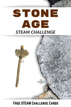 This engineering challenge is designed to introduce kids to the Stone Age and the various tools that early human beings used. #STEM #STEAMkids #homeschool #magictreehouse