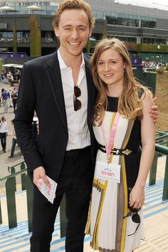 Tom Hiddleston and sister Emma attend the evian 'Live young' VIP Suite at Wimbledon on June 25, 2012 in London, England [HQ]