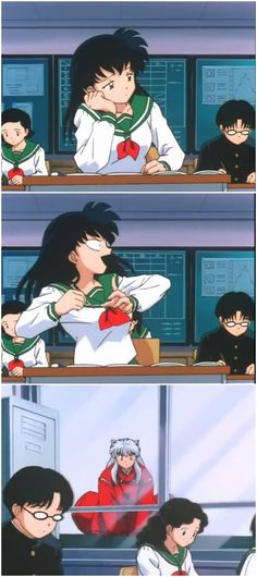 Hehehe Love this Inuyasha at kagomes dimention scenes