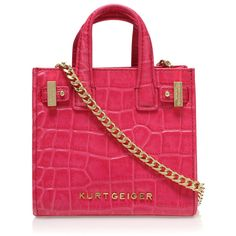 Kurt Geiger London Croc Micro London Tote ($130) ❤ liked on Polyvore featuring bags, handbags, tote bags, pink, red crocodile purse, croc tote bag, red crocodile handbag, red purse and crocodile handbag