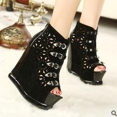 2013 Fashion Hollow Rhinestone Rivets Wedge Shoes