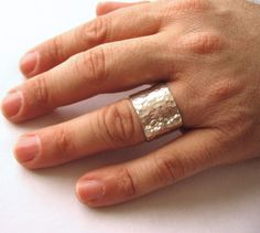 Men's Wedding Ring, Wide Band, Sterling Silver, Thick Band, Unisex Ring, Rugged, Hammered -- Malleus Ring on Etsy, $180.00