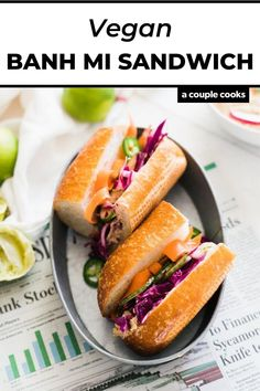 A quick vegan main dish, this vegan banh mi is spread with ginger lime hummus and topped with pickled vegetables and cilantro. These incredible fresh flavors deliver in just 20 minutes!   lunch ideas   summer lunch ideas   sandwich recipes   vegetarian recipes   vegan recipes   plant based recipes   dairy free recipes   asian recipes   #banhmi #vegan #sandwich #easy #vietnamese Vegetarian Sandwich Recipes, Vegan Recipes Plant Based, Dairy Free Recipes, Vegan Recipes Easy, Appetizer Recipes, Cooking Recipes, Asian Recipes, Couple Cooking, Vegan Main Dishes