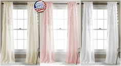 2 Lace Curtain Panel Sheer Window Drape Rod Pocket Drapery Pair Room Tulle Voile
