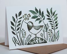 Bird and Leaf Design Lino Cut Print Greeting Card