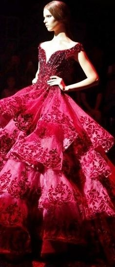Red Ball Gown- this is lovely, but can you imagine how HEAVY it would be? Evening Dresses, Prom Dresses, Formal Dresses, Elegant Dresses, Pretty Dresses, Quinceanera, Red Ball Gowns, Beautiful Gowns, Couture Fashion