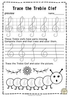 A set of 20 spring themed music worksheets is created to help your students learn to trace, copy, color and draw symbols, notes and rests commonly used in music. Practice in copying them onto their positions on the staff is provided in large size. #elmused  #music #musicworksheets #musiceducation #musictracingworksheets #AMStudio