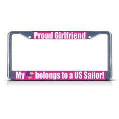 My Heart Belongs To My Husband Chome Metal License Plate Frame Tag Holder