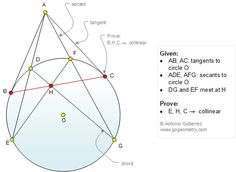 Geometry Problem Circle, Tangent Line, Secant, Chord, Collinear Points. Algebra, Calculus, Introduction To Geometry, Math Pro, Circle Theorems, Graphing Linear Inequalities, Fractal Geometry, Sacred Geometry, Math Meeting