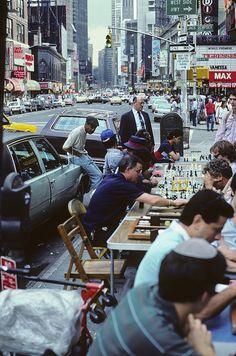 Playing chess on Broadway, NY