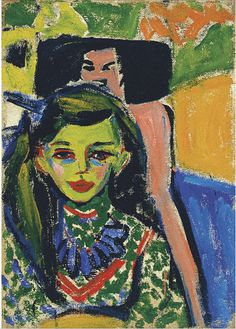 Kirchner, Franzi in Front of Carved Chair 1910 German Expressionist painter, printmaker, and sculptor, Ernst Ludwig Kirchner - Ernst Ludwig Kirchner, Figurative Kunst, Illustrator, Expressionist Artists, Paul Gauguin, Wassily Kandinsky, Renoir, Figure Painting, Oeuvre D'art