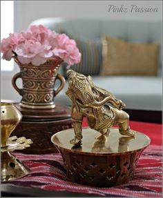 Indian décor, home décor, brass collections, baby Ganesha, Home décor Vignettes