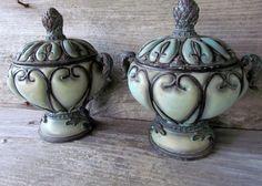Urn Vintage Motif Pair of Urns Resin Circa by CorvidaeCuriosity