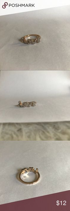 "Gold Love Ring In Diamonds Size 8 Gold ""Love"" Ring In Diamonds In Size 8 Jewelry Rings"
