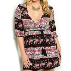 """""""That Boho/Hippie Pinky Dress"""" It's beautiful dress it up or down, multi colored with flower detail, no holds no trades,  price is firm unless bundled. Thanks for looking.true to size. Finess Dresses"""