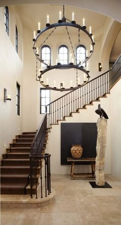 Double Tier Toscana Chandelier adorning an artful entryway