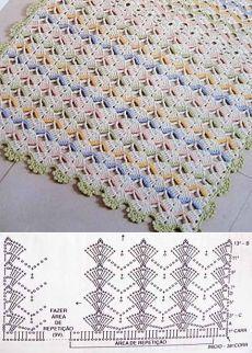 New Crochet Afghan Shell Baby Blankets Ideas Crochet Diy, Filet Crochet, Crochet Shawl Diagram, Crochet Chart, Crochet Motif, Baby Knitting Patterns, Crochet Stitches Patterns, Crochet Designs, Stitch Patterns