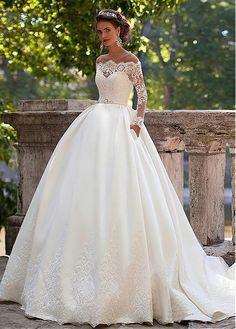 Acheter Robes de mariée Superbe Tulle Jewel Décolleté robe boule avec appliques de dentelle pas cher chez Dressilyme.com